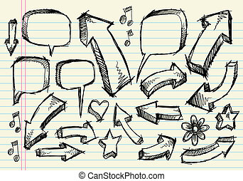 cuaderno, garabato, bosquejo, vector, conjunto
