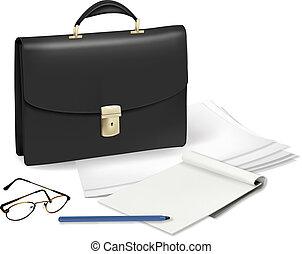cuaderno, maletín