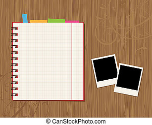 cuaderno, página, diseño, y, fotos, en, de madera, plano de...