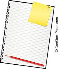 cuaderno, paper., vector, ilustración
