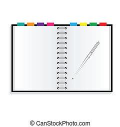 cuaderno, y, pluma