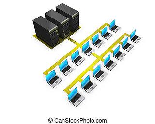 cuadernos, conectado, servidores