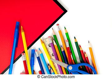cuadernos, suministros, variado, escuela