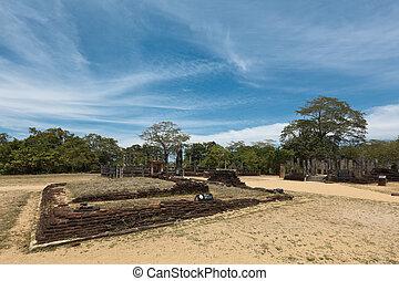 cuadrángulo, antiguo, ruins., polonnar