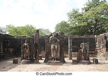 cuadrángulo, polonnaruwa, sri, hatadage, sagrado, lanka
