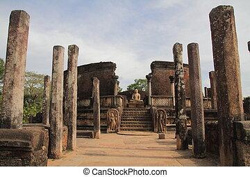 cuadrángulo, polonnaruwa, sri, sagrado, vatadage, lanka