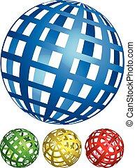 cuadrícula, ángulos, spheres., 4, colores, wire-frame