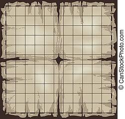 cuadrícula, mapa, viejo