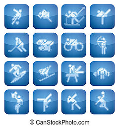 cuadrado, 2d, set:, deporte, cobalto, iconos