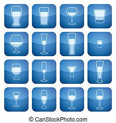 cuadrado, 2d, set:, vidrio, cobalto, alcohol, iconos
