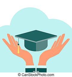 cuadrado, académico, gorra, en, hands., vector, icon.,...
