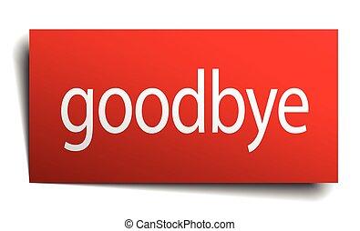 cuadrado, aislado, señal, papel, adiós, rojo blanco