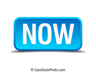 cuadrado azul, botón, aislado, realista, ahora, 3d