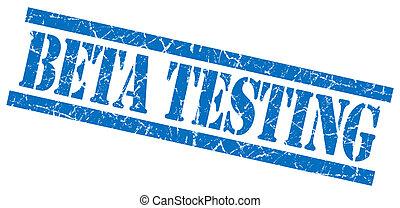 cuadrado azul, estampilla, prueba, aislado, caucho, beta, ...
