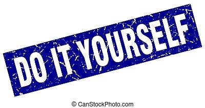 cuadrado azul, grunge, estampilla, él, usted mismo