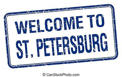 cuadrado azul, grunge, estampilla, bienvenida, st petersburg
