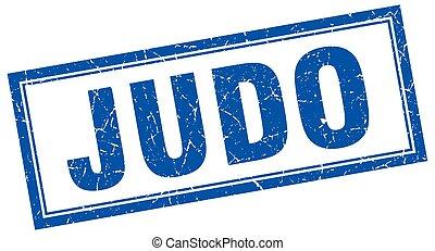 cuadrado azul, judo, estampilla, grunge, blanco