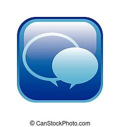 cuadrado azul, marco, con, discurso, burbujas