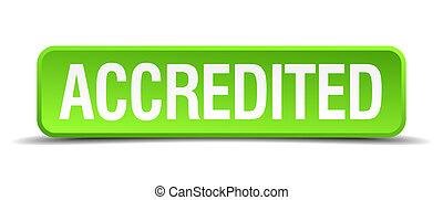 cuadrado, botón, aislado, accredited, realista, verde, 3d