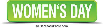 cuadrado, botón, aislado, realista, verde, womens, día, 3d