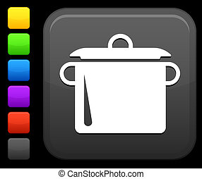 cuadrado, botón, cocina, internet, olla, icono