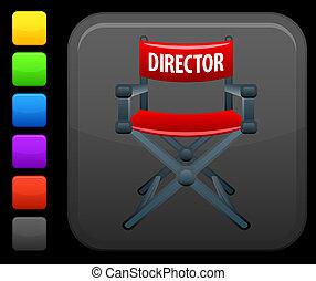 cuadrado, botón, directores, internet, silla, icono