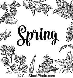 cuadrado, cartel, con, flor, florecer, rama, hojas, pasto o césped