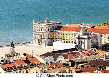 cuadrado, central, portugal, praca, comercio, de, lisboa