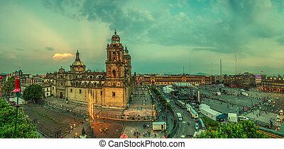 cuadrado, ciudad de méxico, catedral, zocalo, metropolitano