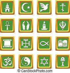 cuadrado, conjunto, iconos, religión, vector, verde
