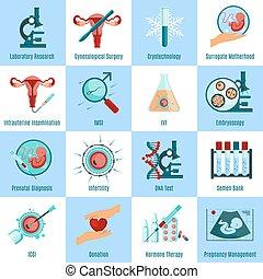 cuadrado, conjunto, inseminación artificial, iconos
