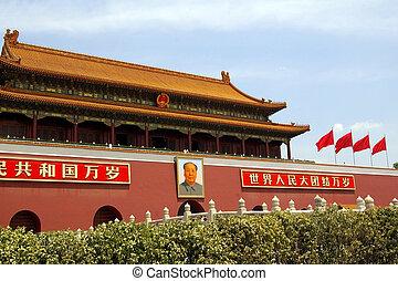 cuadrado de tiananmen, en, beijing, china