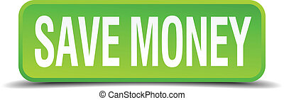 cuadrado, dinero, botón, aislado, realista, verde, excepto,...