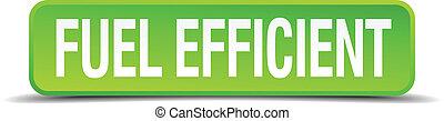 cuadrado, eficiente, botón, aislado, realista, verde, combustible, 3d