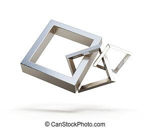 cuadrado, enlace, cadena, aislado, en, un, blanco, fondo., 3d, render, imagen