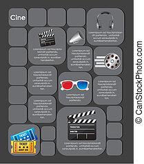 cuadrado, etiqueta, con, película, iconos