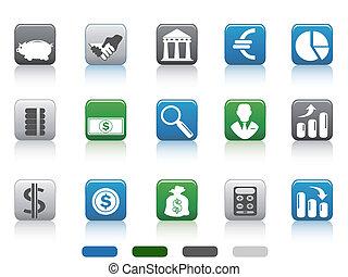 cuadrado, finanzas, iconos, simple, botón, banca, conjunto