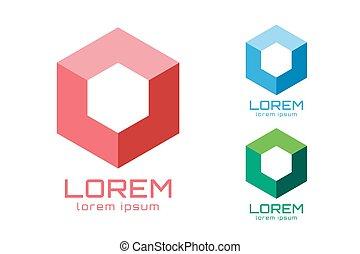 cuadrado, forma abstracta, vector, logotipo, esquina, ...
