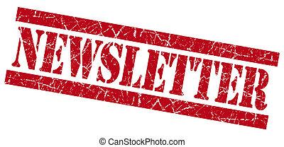 cuadrado, grunge, estampilla, aislado, textured, blanco, newsletter, rojo