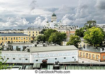 cuadrado, helsinki, senado, encima, tejados, catedral, vista