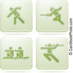 cuadrado, iconos, cobalto, 2d, deporte, set:
