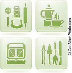 cuadrado, iconos, cobalto, 2d, utensilios, set:, cocina