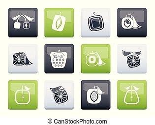 cuadrado, iconos, color, resumen, fruta, plano de fondo, encima