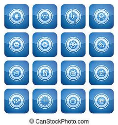 cuadrado, iconos, resumen, cobalto, 2d, set: