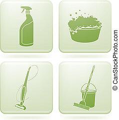 cuadrado, limpieza, 2d, set:, olivine, iconos