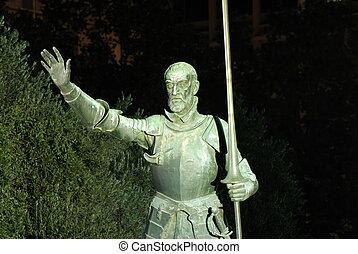 cuadrado, madrid, quijote, estatua, don, españa