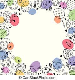 cuadrado, marco, con, huevos de pascua, mano, dibujado, y, espacio, para, texto, blanco, plano de fondo