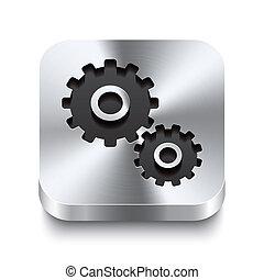 cuadrado, metal, botón, perspektive, -, engranaje, icono