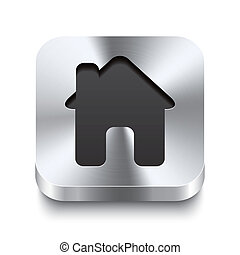 cuadrado, metal, botón, perspektive, -, icono de la casa