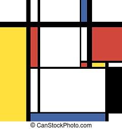 cuadrado, mondrian, moderno, ilustración, pintura, estilo